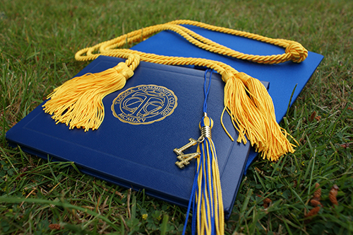 College diploma on grass field